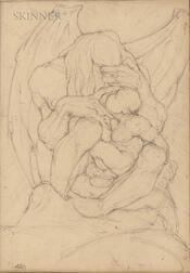 Hyman Bloom (American, 1913-2009)      Two Drawings: Winged Creature with Child
