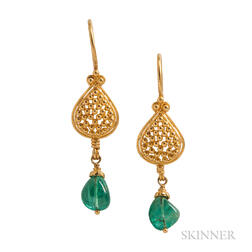 18kt Gold and Emerald Earrings