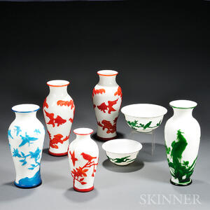 Seven Peking Glass Vases and Bowls
