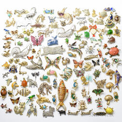 Group of Approximately 100 Costume Jewelry Animal Pins