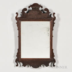 Small Walnut Scroll-frame Mirror