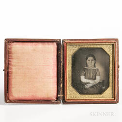 Sixth-plate Daguerreotype of a Little Girl with Her Arms Crossed