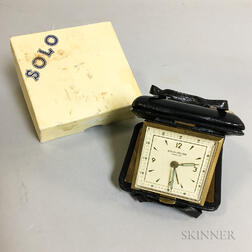 Solo-Relide Brass and Leather-cased Travel Alarm Clock