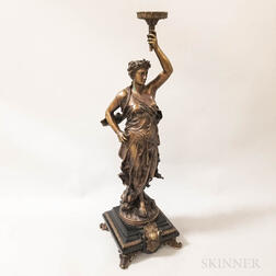 Victorian-style Bronzed Metal and Slate Standing Figure