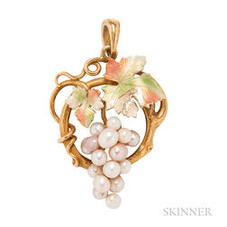 Art Nouveau 14kt Gold and Freshwater Pearl Grape Pendant