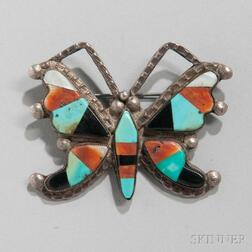 Zuni Inlaid Butterfly Pin
