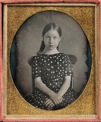 Sixth-plate Tinted Daguerreotype of a Seated Young Girl