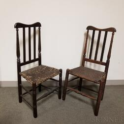 Two Early Black-painted Bannister-back Side Chairs