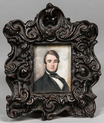 American School, 19th Century      Miniature Portrait of a Man in a Black Jacket