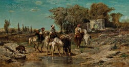 Adolph Schreyer (French/German, 1828-1899)      Arab Horsemen at a Watering Hole