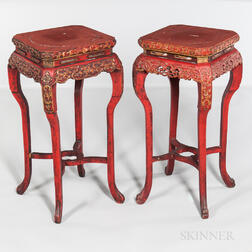 Near Pair of Red Lacquered, Carved, and Gilded Incense Stands