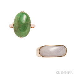 Two 14kt Gold and Jade Rings