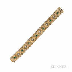 Georges L'Enfant 18kt Gold, Emerald, and Diamond Bracelet