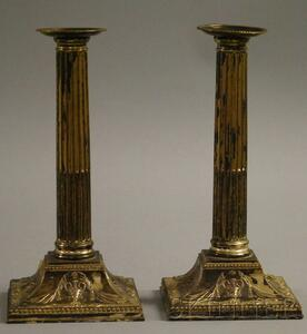 Pair of Neoclassical-style Sheffield Silver-Plated Candlesticks