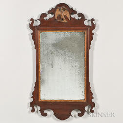 Mahogany Scroll-frame Mirror with Eagle Crest
