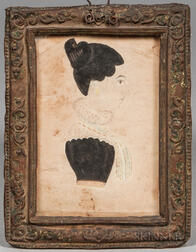 American School, 19th Century      Profile Portrait of a Young Woman in a Lacy Collar
