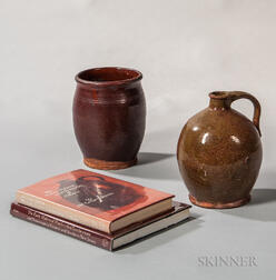 Glazed Redware Jug and Jar and Two Reference Books