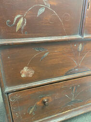 Early Red-painted Chest over Drawer