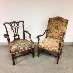 Two Tapestry-upholstered Open Armchairs