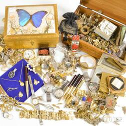 Large Group of Costume Jewelry and Two Jewelry Boxes