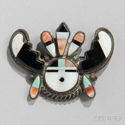 Zuni Inlaid Silver Pin