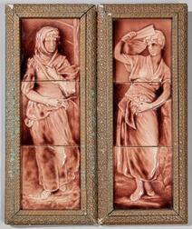 Two Cambridge Art Tile Works Three-part Pottery Panels of Women