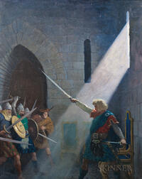 Newell Convers Wyeth (American, 1882-1945)      Wallace Draws the King's Sword