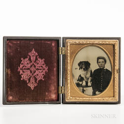 Sixth-plate Ambrotype of a Seated Boy and Dog on a Table