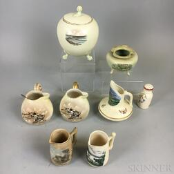 Eight Hampshire Pottery Transfer-decorated Vessels
