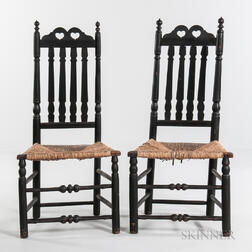 Pair of Black-painted Double Heart and Crown Bannister-back Chairs