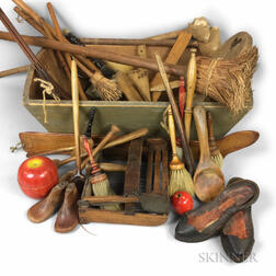 Large Group of Wooden Domestic Items