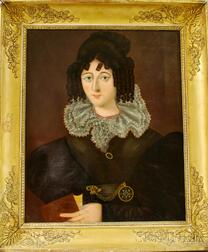 Northern European School, 19th Century      Portrait of an Elegantly Dressed Lady Holding a Book.