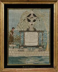 """""""MARY LAMSON"""" Silk Needlework Mourning Picture"""