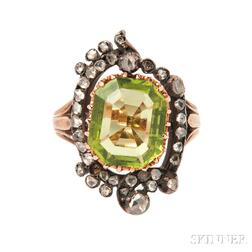 Antique Peridot and Diamond Ring