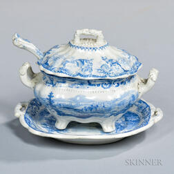 Staffordshire Historical Blue Transfer-decorated Sauce Tureen, Undertray, and Ladle