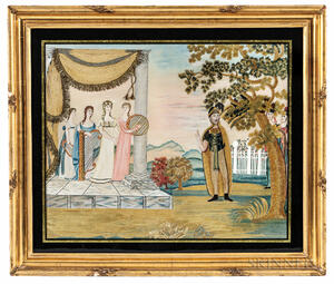 """Painted Silk and Needlework Picture """"Jeptha's Rash Vow,"""""""