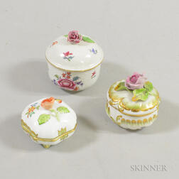 Three Herend Porcelain Covered Boxes