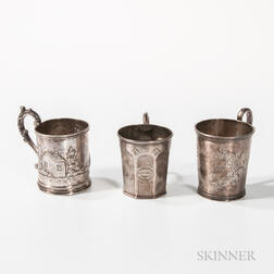 Three Coin Silver Christening Cups