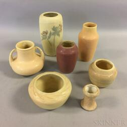 Seven Hampshire Pottery Mostly Cream-glazed Vessels