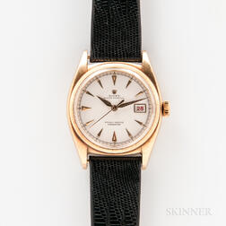 """Rolex 18kt Gold Semi-bubble Back """"Ovetonne"""" Reference 6075 Wristwatch and Papers"""