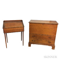 Country Pine Schoolmaster's Desk and a Two-drawer Blanket Chest