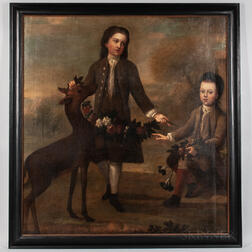 British School, 18th Century      Portrait of Two Boys and a Fawn