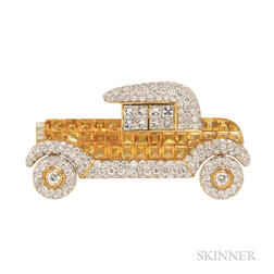 18kt Gold, Yellow Sapphire, and Diamond Automobile Brooch