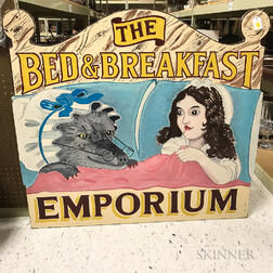 "Paint-decorated Wood ""The Bed & Breakfast Emporium"" Trade Sign"