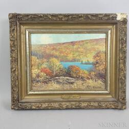 James S. Farlinger (American, 1881-1934)      Autumn View of Bearfort Ridge and Pond, New Jersey