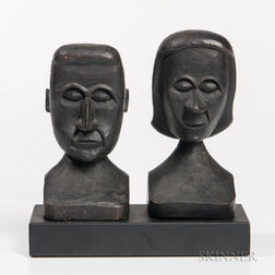 Small Carved Pair of Busts