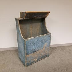 Blue-painted Pine Wood Bin