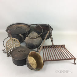 Group of Brass and Iron Hearth Items