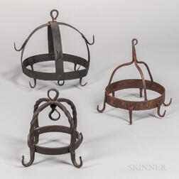 Three Wrought Iron Game Hooks