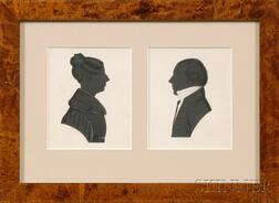 Two American Silhouette Drawings of a Man and Woman